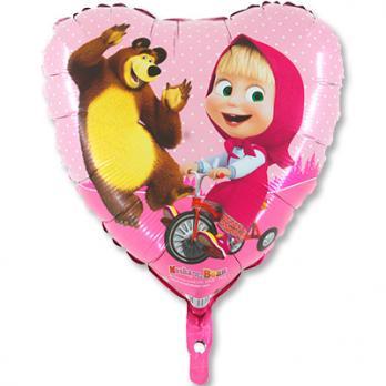 """Шар фольга """"Маша и Медведь в сердце"""""""