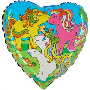 Шар круг фольга Пони веселые
