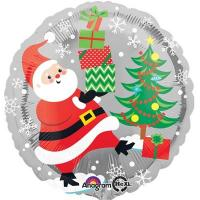 Шар круг фольга Санта снеговик и пингвины