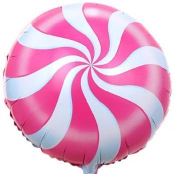 Шар круг фольга Конфета розовая