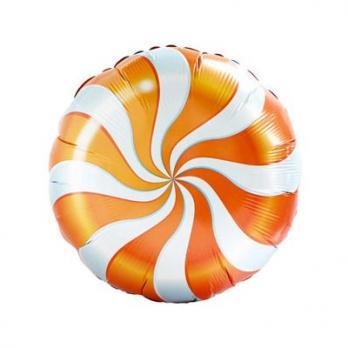 Шар круг фольга Конфета оранжевая