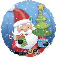 Шар круг фольга Санта с елкой