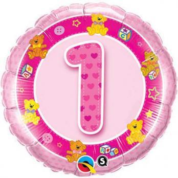 """Шар круг фольга """"1 год Мишки розовый"""""""