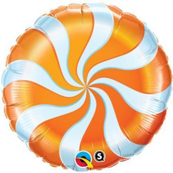Шар круг фольга Карамель Оранжевая