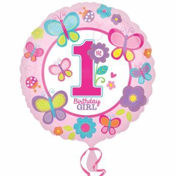 Шар круг фольга 1-й День Рожденья девочка