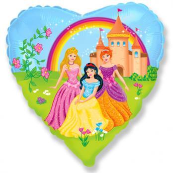"""Шар сердце фольга """"Принцессы на прогулке"""""""