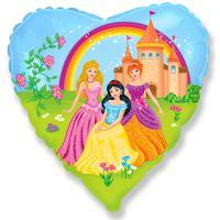 Шар сердце фольга Принцессы на прогулке