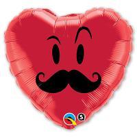Шар фольга Сердце Усы
