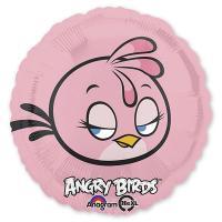 Шар круг фольга Angry Birds Розовая