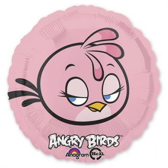 """Шар круг фольга """"Angry Birds Розовая"""""""