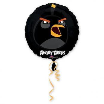 """Шар круг фольга """"Angry Birds Черная"""""""