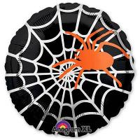 Шар круг фольга Паук оранжевый