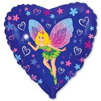 Шар сердце фольга Девочка фея на синем сердце