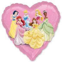 Шар сердце фольга Принцессы