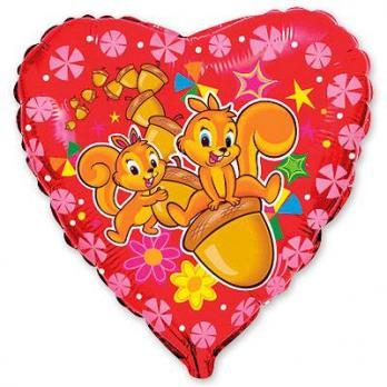 Шар сердце фольга Белки веселые