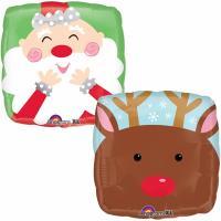 Шар круг фольга Санта и олень