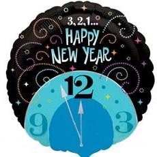 """Шар круг фольга """"Новый год Часы"""""""