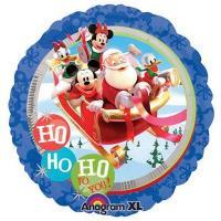 Шар круг фольга Санта и Микки с друзьями