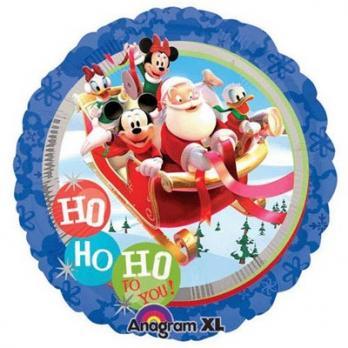 """Шар круг фольга """"Санта и Микки с друзьями"""""""
