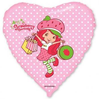 Шар сердце фольга Девочка Клубничка с подарками