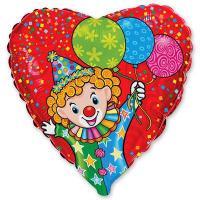Шар сердце фольга Клоун с шарами