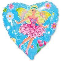 Шар сердце фольга Фея на голубом