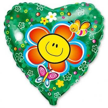 "Шар сердце фольга ""Цветок улыбка"""