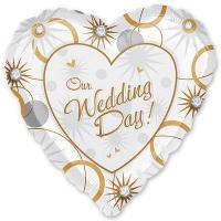Шар сердце фольга Свадьба Сердце и кольца