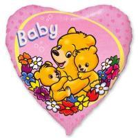 Шар сердце фольга Baby Мишки на розовом