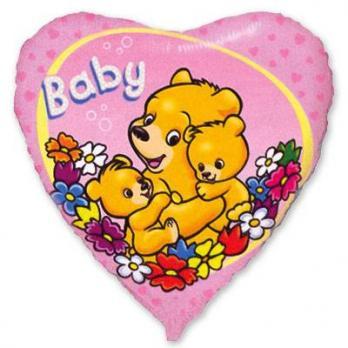 """Шар сердце фольга """"Baby Мишки на розовом"""""""