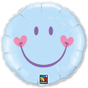 Шар круг фольга Улыбка с сердечками на Голубом
