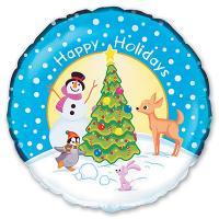 Шар круг фольга Новый год Снеговик у елки