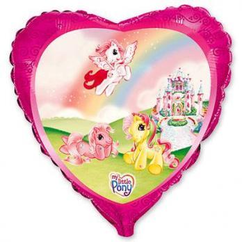 """Шар сердце фольга """"Пони на радуге"""""""