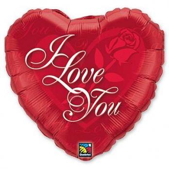 Шар сердце фольга ILY с розой