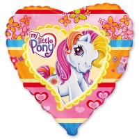 Шар сердце фольга Пони