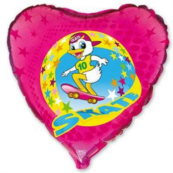 Шар сердце фольга Утенок на скейте