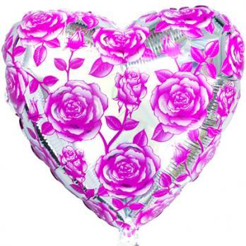 """Шар сердце фольга """"Розы розовые"""""""