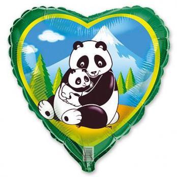 Шар сердце фольга Панды