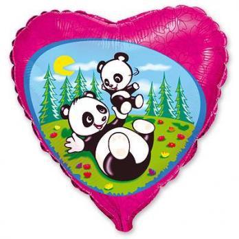 """Шар сердце фольга """"Панды на поляне"""""""
