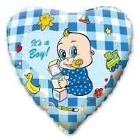 Шар сердце фольга Младенец мальчик