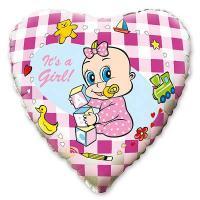 Шар сердце фольга Младенец девочка