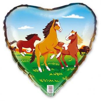 Шар сердце фольга Лошади