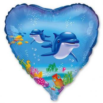 Шар сердце фольга Дельфины
