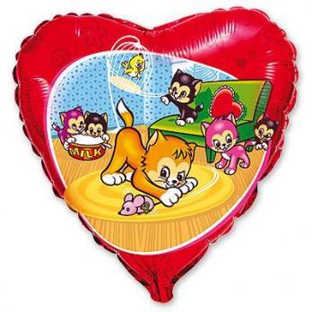 Шар сердце фольга Веселые котята