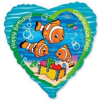 Шар сердце фольга HB Рыбки клоуны