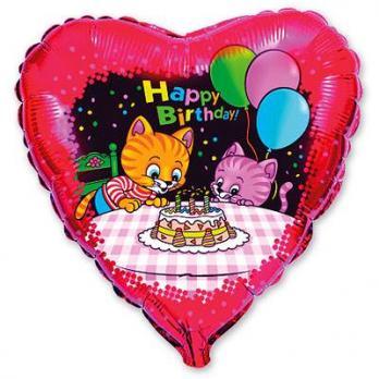 Шар сердце фольга HB Котята с тортом