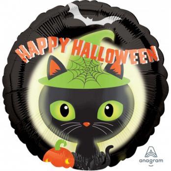 "Шар круг фольга ""Хэллоуин Кошка Шляпа зеленая"""