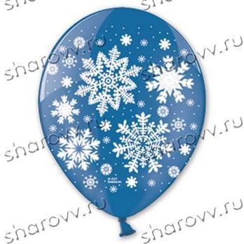 Снежинки - синий