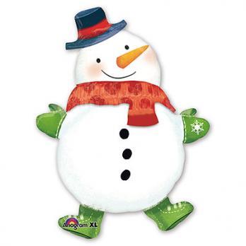 "Шар фигура фольга ""Снеговик с шарфом"""