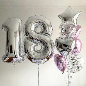Сет воздушных шаров Дата серебро